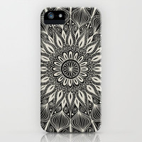 Vintage Mandala on black iPhone Case by Groovity | Society6