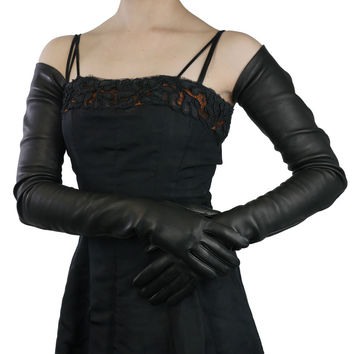 Long Black Leather Gloves- Full arm length to shoulder, Silk Lining, 22-bt