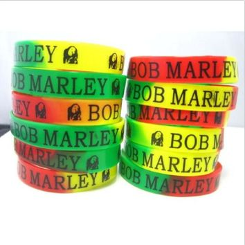 New 48pcs mixed lot Bob Marley Silicone bracelets red green yellow Rasta Jamaica Reggae trendy wristband men women and unisex