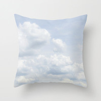 Decorative Photo Throw Pillow Cover Blue White Grey Clouds Home Decor 18x18 Gift for Him Gift for Her Nursery Decor
