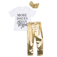 Hot New Toddler Kids Baby Girl Outfits Headband+Top T-shirt+Gold Pants Clothes Set