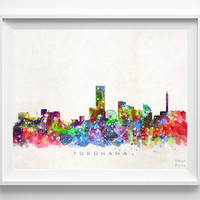 Yokohama Skyline Print, Japanese Wall Art, Japan Cityscape, City Skyline, Watercolor Painting, Home Decor, Room Decor, Christmas Gift