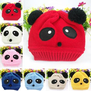 Winter Cute animal Panda Baby Hats boy girl kids Warm crochet beanie hats cap for children bonnet Y1
