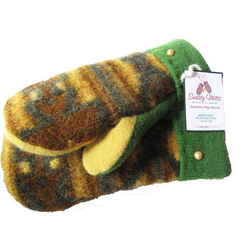 SWEATY MITTS - Upcycled Wool Sweater Mittens Women's Recycled Handmade in Wisconsin - Yellow Green Gold Green Bay Packers