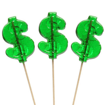 Dollar Sign Hard Candy Lollipops: 12-Piece Bag