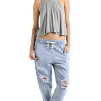 DISTRESSED DRAWSTRING DENIM PANTS