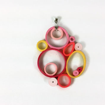 Unique Pink Paper Pendant, Quilling - paper quilling pendant, pink pendant, pink necklace, paper jewelry, unique pendant, unique necklace
