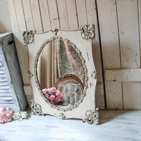 Shabby Chic Vintage Ornate Oval Mirror, Rustic Cream Patina Wooden Oval Mirror, Farmhouse Mirror, Ornate Vintage Mirror, Cream Wedding Decor