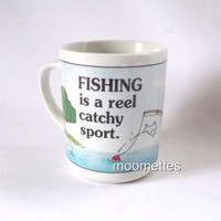 Fishing Coffee Mug Fish Reel Water Catchy Sport Boat Nautical Colorful Cup