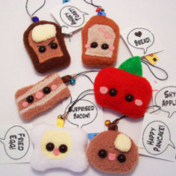 Breakfast Plush Kawaii Cell Phone Strap Zipper Pull: Toast Bread Bacon Apple Egg or Pancake