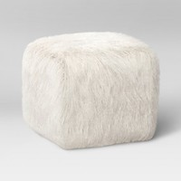Faux Fur Pouf Ottoman White - Room Essentials™