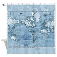 World Map Shower Curtain - Mercator, historical map, crowns, vintage map - Blue, Home Decor - Bathroom - travel, Queen