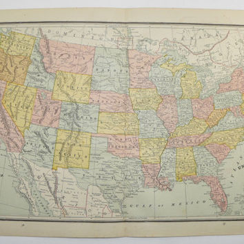1887 United States Map, Vintage Map of USA, History Buff Gift, US Geography Art Map, Antique Wall Map, Office Art Gift for Coworker