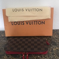 Authentic Louis Vuitton Damier Ebene Wallet Red