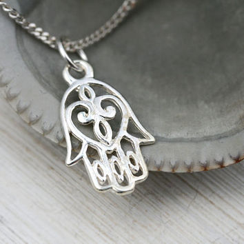 Hamsa Pendant, Hamsa hand Necklace, Kabbalah Jewelry, Hand of Fatima, Layered Necklace, Sterling Silver hamsa