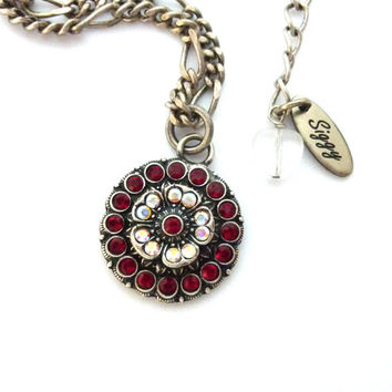 "Swarovski crystal ""EVIL EYE"" flower pendant, Siam red and crystal AB, multi-stone, ornate Siggy bling"
