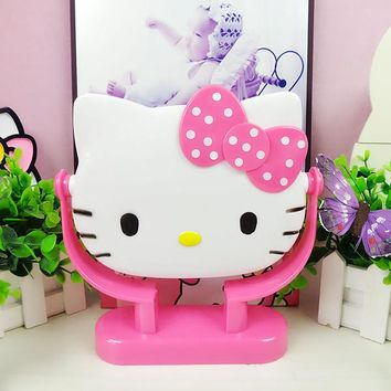 Kitty Cosmetic Makeup Mirror KT Dresser Round Vanity Mirror Rotate 360 Degrees The Three-dimensional Cartoon Characters