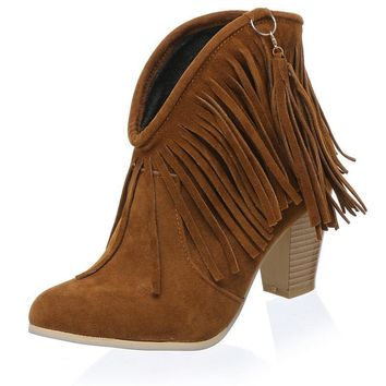 Women Boots Cowboy Boots Suede Fringe Ankle Boots for Women High Heels Shoes Woman