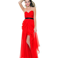 Red Chiffon Strapless Hollywood Starlet Gown