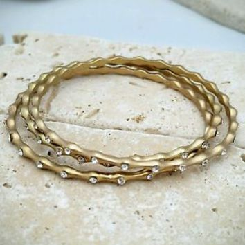 Modern Fashion Bronze Tone and Crystal Rhinestone Bangle Bracelet NWOT