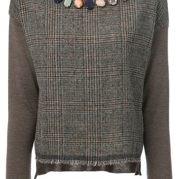 Erika Cavallini Semi Couture tweed panel embellished sweater