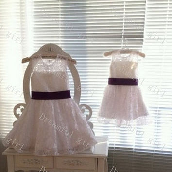 Lace with sash flower girl dress High quality