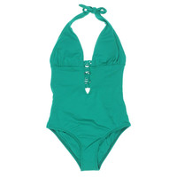 L Space Womens Plunge Halter One-Piece Swimsuit