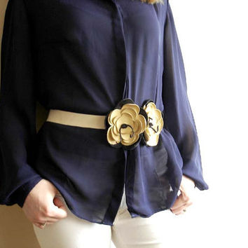 Leather Belt . Flower Belt.  Beige Belt.  Yellow Leather  Belt. Sash  Belt. Ribbon Belt