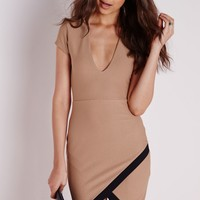 Missguided - Cap Sleeve Aysmmetric Bodycon Dress Camel