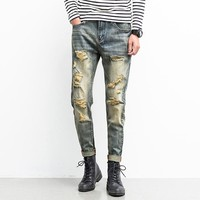 Men Jeans Ripped Biker Hole Denim robin patch gray color Harem jeans for men Pants