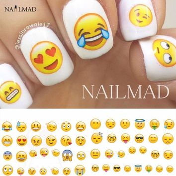 1 Sheet Face Emoji Water Decals Various Expression Nail Art Water Decals Nail Transfers Sticker