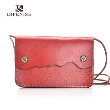 Difenise New Design Vegetable leather Women Saddle Handbags Fashion Solid Cover Women High quality Shoulder Bags Larger capacity