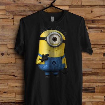 Minion Happy black Mens T-shirt Valentine's White Black Dsign t-shirt men S,M,L,XL