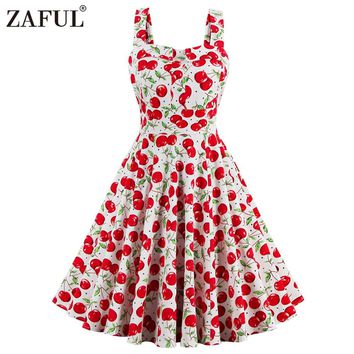 ZAFUL Plus Size Cherry Print Pin Up Summer Dress Women Vintage 50s Rockbility Vestidos Robe Sleeveless A-line Party Dresses Red