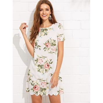 White Round Neck Short Sleeve Floral Print Shift Dress