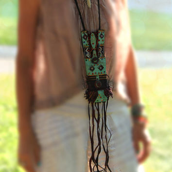 Your Secret Stash / African Tuareg Goat Leather Necklace, Purse / Tribal Accessory / Aqua, Burgundy, Sequins & Fringe, Boho Jewelry, Decor