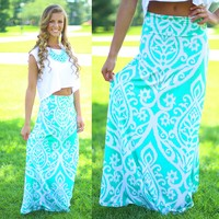 Untoile Forever Maxi Skirt in Mint