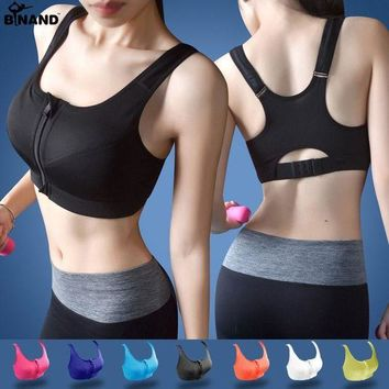 LMFLD1 2017 Women High Impact Running Shockproof Sports Bra Padded Wirefree With Front Zipper Closure And Adjustable Strap Fitness Tops