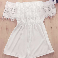 White Lace Crochet Romper