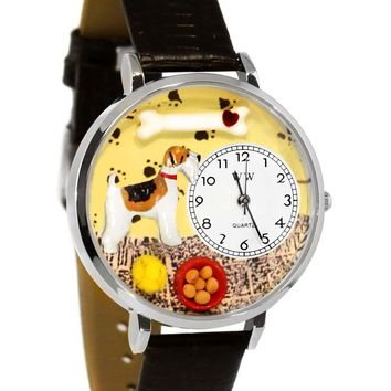Fox Terrier Black Skin Leather And Silvertone Watch