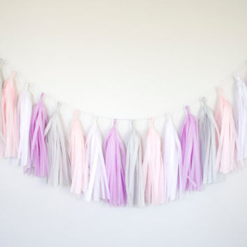 Purple and Pink Tassel Garland - Purple and Gray Party Decor, Wedding Decor, Birthday Party, Photo Backdrop, Baby Shower, Pastel Decor