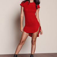 RED RIBBED KNIT CURVED SIDES DRESS