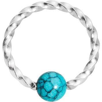 """16 Gauge 5/16"""" Faux Turquoise So Twisted Captive Style Seamless Ring"""