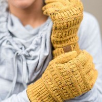 Knitted Texting Gloves - Confetti Mustard