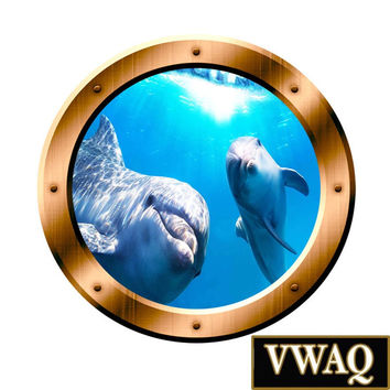 Dolphins Underwater Scene 3D Porthole Family Wall Art Ocean View 3D Window Bronze Portal Art BP8