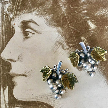 Sterling Grape Cluster Earrings Hallmarked 925 Mexico Vintage Love Token for the Oenophile or Wine Collector