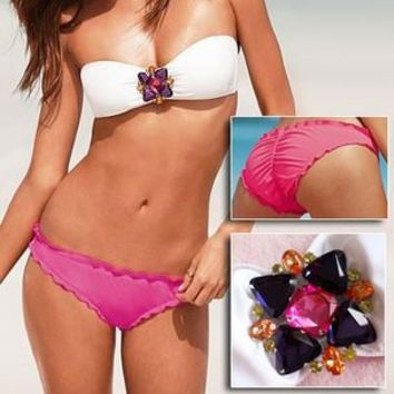Jeweled Bandeau Top & Pink Ruched Low-rise Bottom