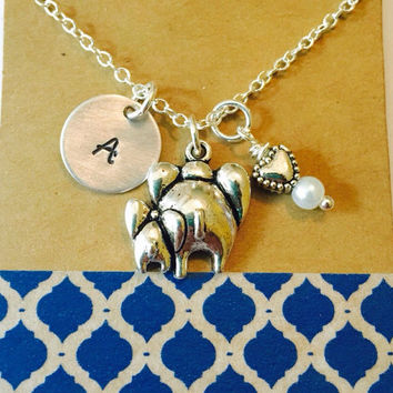 Elephant Necklace , Mommy Elephant, Baby Elephant Necklace, Swarovski Birthstone or Pearl, Initial Silver Plated Necklace / Personalized