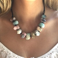 Raw Amazonite Necklace Pink Opal Necklace, Chunky Gemstone Necklace, Chunky Beaded Necklace, Natural Raw Stone Necklace