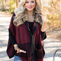 In My Direction Plaid Zip Up Poncho Burgundy/Black